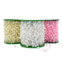 5 Meters Fishing Line Artificial Pearls Beads Chain Garland Flowers Bridal tiara wedding decoration Event Party Supplies Beige/W(China)
