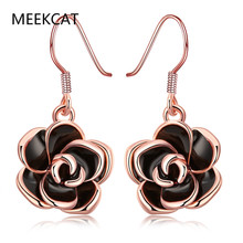 MEEKCAT Earrings For Women Fashion Jewelry Rose Gold Color Black Drop the Oil Earrings Body Jewelry Rose Flower Pendant as Gift(China)