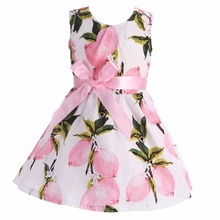 100% Cotton Teen Children Dress Sleeveless Print Flower Girls Dress Roupas Infantis Menina Princess Evening Dresses baby costume