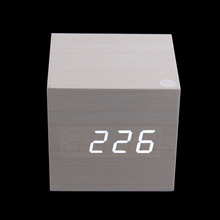Wooden USB/AAA Powered Digital Desk White Alarm Clock LED Thermometer
