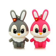 usb flash drive pen drive pink rabbit memory stick gray rabbit 2GB 4GB pendrive 8GB 16GB cartoon character u disk free shipping(China)