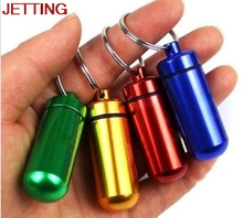 JETTING Hot Waterproof Aluminum Pill Box Case Bottle Cache Drug Holder Container Keychain Medicine Box Health Care