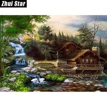 """5D DIY алмазной живописи """"дом мечты рядом Водопад"""" Вышивка полный квадратный алмаз вышивки крестом горный хрусталь мозаика живопись(China)"""