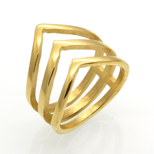 Promotion Sale Mopera Fashion Ring Golden Color Stainless Steel Jewelry Fashion Three V Shape Design Ring For Women
