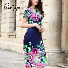 RUIYIGE 2017 Women Ladies Summer Casual O neck Party Dresses Sex Flower Print Back Zip Vintage Pencil Sheath Vestidos Dress