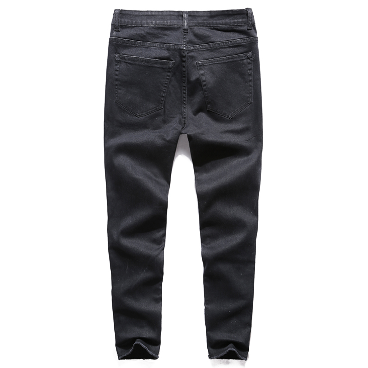 new men's jeans Ripped Holes pants Korean style influx black casual trousers cool stretch man pants 2017 spring and summer