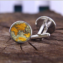 2016 fashion vintage cufflinks jewelry glass dome globe planet earth World Map Art glass dome statement cufflinks