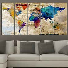 TANDA Extra Large Canvas Colorful World Map on Old Wall Background 5 Panel Watercolor Large Wall Art 80 Inch Total