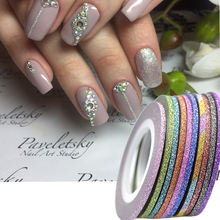 1Rolls 2mm Nail Art New Laser Stripes Tape Line with Glitter Powder Sticker Nails Tips Beauty DIY Adhesive Decorations NC383(China)