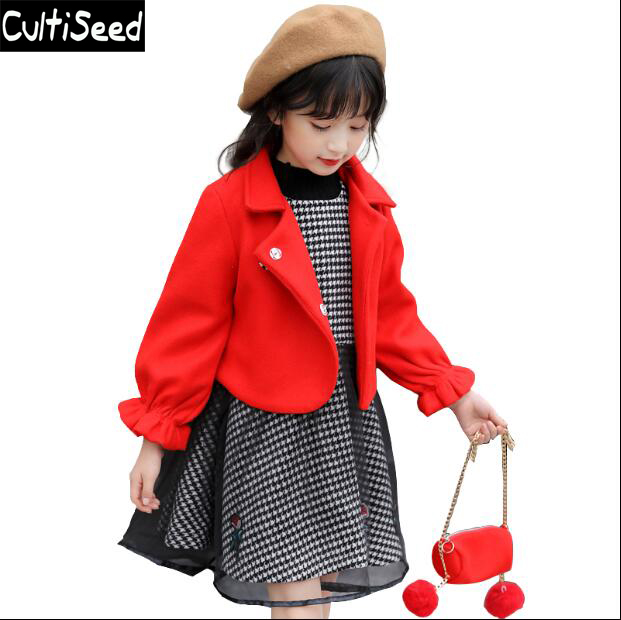Girls Autumn Winter Dress Sets Clothes 2017 Children Turn Down Collar Woolen Coat+Plaid Gauze Net yarn Vest Dress Sets Kids Suit<br>
