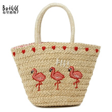 BRIGGS New 2016 Summer Casual Straw Beach Bag Fashion Animal Prints Woman Straw Bags Women's Handbag Top-handle Bucket Bag(China)