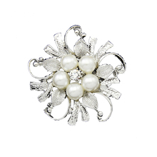 New Arrival Mother's Day Gift Pearl Rhinestone Crystal Wedding Bridal Brooches Bouquet Silver Flower Faux Pearl Brooch Pins Gift