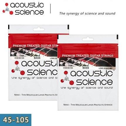 Acoustic Science Premium Treated Nickel Steel Bass Guitar Strings, 4-strings, Long Medium, 45-105, Made in USA<br>
