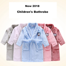 Spring 2018 Kids Bathrobe Flannel Pajamas for Girls New Baby Cotton Bathrobe Children Cartoon Dressing Gown Super Soft Sleepwear(China)