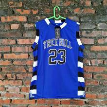 On Sale #23 The film version of One Tree Hill Nathan Scott Need double stitched mesh basketball jersey Blue color free shipping
