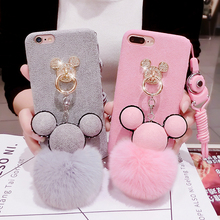 New Fashion Luxury Pretty diamond Mickey Cartoon Doll decoration Case for Iphone 6 6s 6plus 7 7plus Bling Plush Soft Cover Case