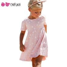 Hot Sale 2017 Kids Dress For Girls Lovely Pink Heart Short Sleeve Girl Dress Summer Style Children Clothes Girls Party Dresses(China)
