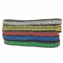 ZERZEEMOOY wide 1/2 inch  12mm 9yard/lot Polyester Woven Jacquard Ribbon Christmas Geometric Totem Metal ribbon