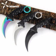 KKWOLF Counter Strike CS GO Color Titanium Karambit Knife Never Fade necklace knife Camping Hunting knife Rescue Survival Knives