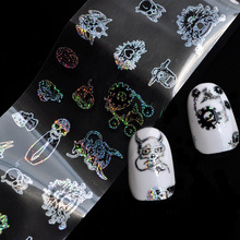 Laser 3D Nail Foil Skull Image Skull Nail Stickers Decals Mixed Style Nail Foils Wraps DIY Nail Halloween Decoration Patch(China)