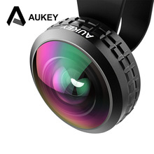 AUKEY olho de peixe Original 0.2X Super Wide Angle Optic Pro Lens 238 degree High Clarity Cell Phone Camera Lens Kit for iPhone