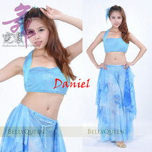 Tie-dye tassel belly dance costume (top+dance wear skirt ) bellydance costume free shipping bollywood dance costumes gypsy