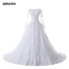 QIRUISHI 2017 Vintage Long Sleeves Wedding Dresses Ball Gown Princess White Tulle Appliques Bridal Gowns Robe De Mariage LK99