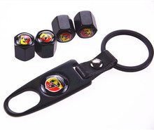BBQ@FUKA 4pcs Black Metal Car Wheel Tyre Tire Valve Dust Stems Air Caps Cover Emblem + Keychain Keyring  For Fiat Abarth