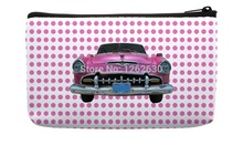 Pink Dot and Vintage old Car Print Customized Small Cosmetic Bag Wristlet hand bag