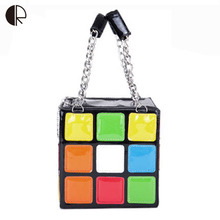 2016 New Women Fashion Magic Cube Totes Super Personalized Handbag Colorful Bag Ladies Interesting Bag BS500