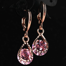 Wholesale New Jewelry Rose Gold Color Rhinestone Water Drop Crystal Dangle Earrings Free Shipping