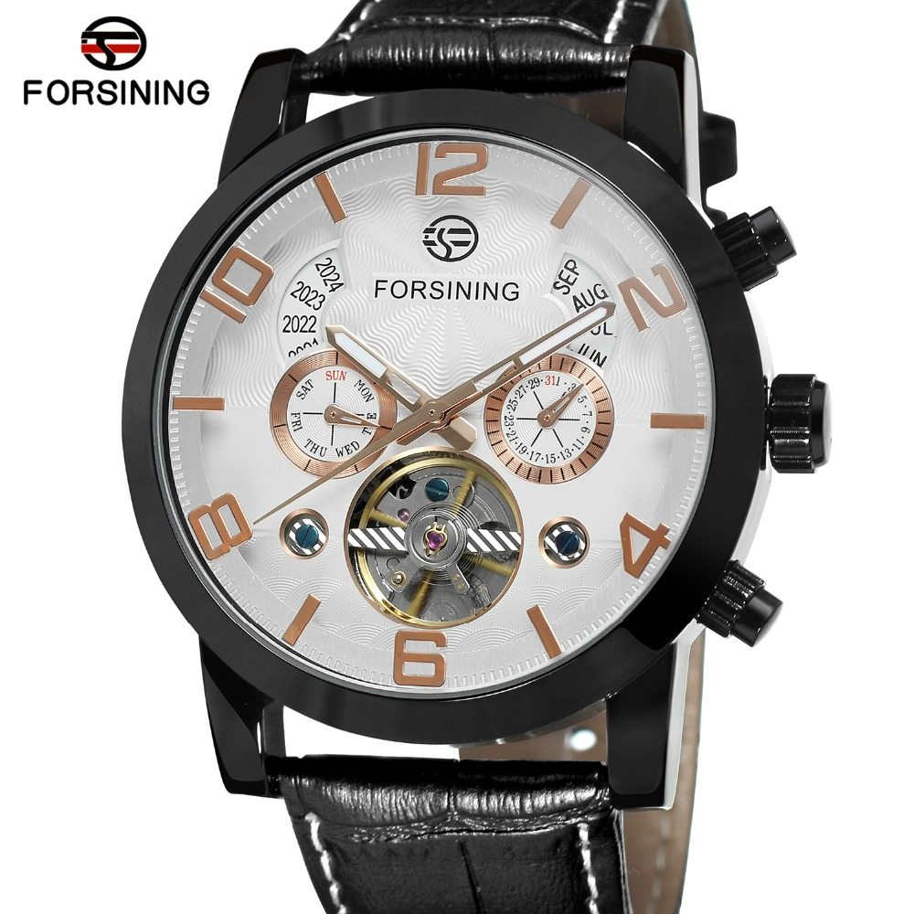 Forsining Mens New Arrival Automatic Self-winding Day Calendar Leather Strap Brand Collection Brand Wholesale Best Wrist Watch <br>