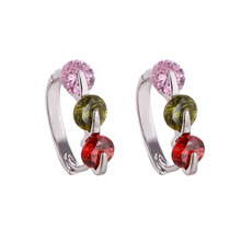 Free Shipping Luxury Crystal Earring Colorful Created Gemstone Hoop Earring For Women Charming Silver Plated Earring(China)