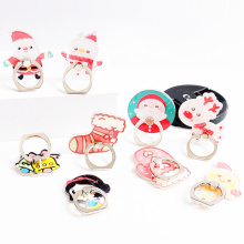 New Arrival 1 Piece Universal Metal Finger Ring Mobile Phone Holder Stand Cute Cartoon Christmas Socks  Snowman Bells Phone Ring
