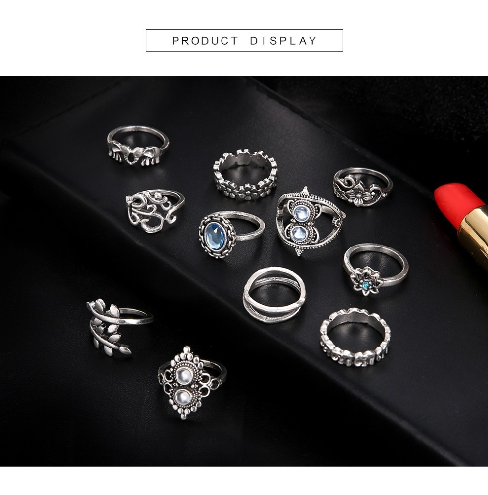 Bague Femme Vintage Rings for Women Boho Geometric Flower Crystal Knuckle Ring Set Bohemian Midi Finger Jewelry Silver Color 48
