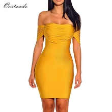 Ocstrade Vestido Rayon Bandage Dresses 2017 New Arrivals Summer High Quality Yellow Fringe Sexy Off Shoulder Bandage Dress Party(China)