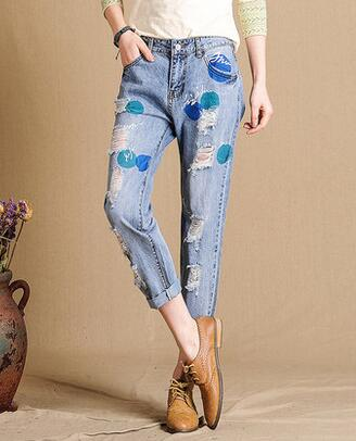 Casual jeans denim cotton blend harem pants for women plus size hole spring autumn summer calf-length pants female caprisxbf0702Îäåæäà è àêñåññóàðû<br><br>