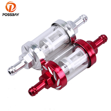 "POSSBAY 5/16"" 8mm Chrome/Red Universal Motocross Motorcycle Fuel Oil Filter Motorbike Liquid Petrol Filter Scooter Inner Cleaner"