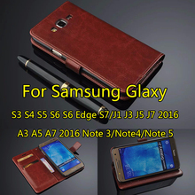 For Samsung Galaxy A3 A5 A7 2017 J3 J5 J7 2016 Case Flip Wallet Genuine Leather Cover For Galaxy S3 S4 S5 S6 S7 Edge S8 Coque