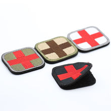 ONE PIECE Original Color RED CROSS Medical Assistant 3D Embroidery Patch Armband  Tactical Gear Props Cloth Patches 5*5cm