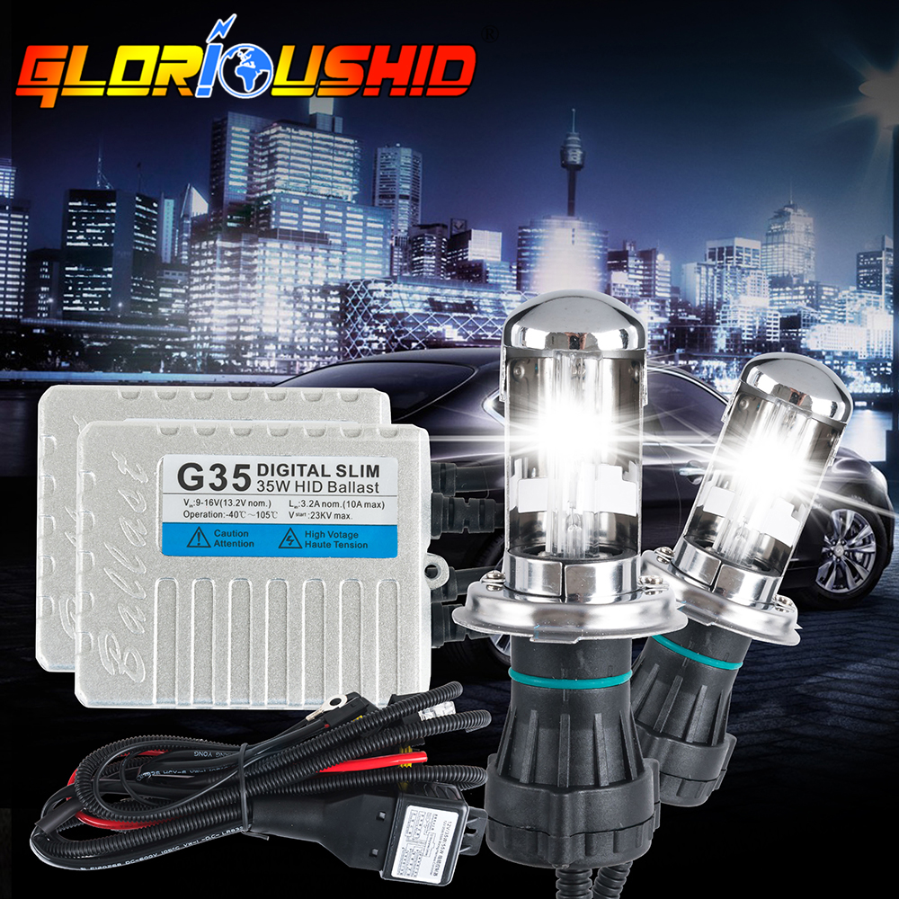 One set h4 bi xenon G35 35w Slim ballast H4 hi/lo beam HID xenon kit 4300K 5000K 6000K 8000K 10000K xenon bulb for car headlight<br>