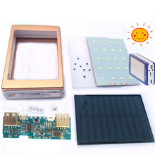 5V 1A 2.1A Solar Power Bank Dual USB Solar Battery Charger Module Circuit Board + Solar panels +Shell Case + LED Light DIY Kits(China)