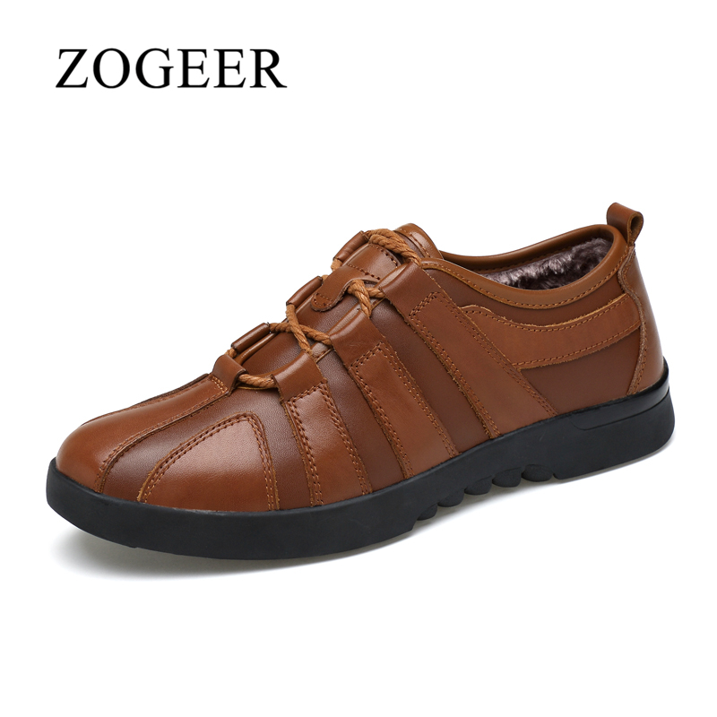 ZOGEER Big Size 38-45 Mens Casual Shoes, Genuine Leather Plush Warm Winter Shoes For Man, 2017 New Designer Men Shoes<br>