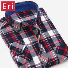 Buy 2017 Autumn Men Shirt Fashion Plaid Slim Fit Dress Long Sleeve Button-Down Brand Winter Mens Shirts Social Free X094 for $13.90 in AliExpress store