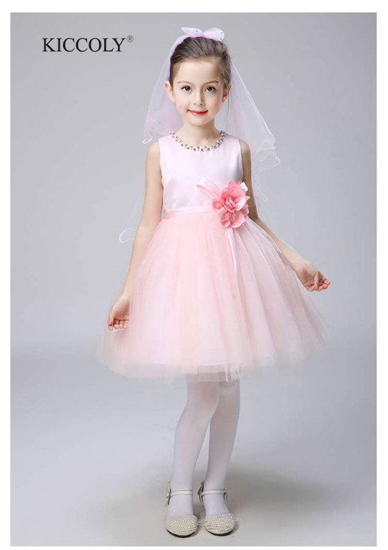 Pink Diamond Bow Girl Wedding Dress 1-11T Hollow Party Birthday Dresses Princess Dress Baby Disfraces Infantiles Princesa<br>