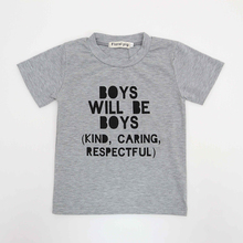 China imported baby boy clothes funny BOY Letter tiny cottons Gray Short sleeve  t shirts casual blouse tops children's clothing