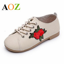 Embroidery Flowers PU Leather Children Shoes Lace-up Soft Comfortable Girls Shoes Casual Moccasins Shoes Size 26-36(China)