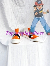 Freeshipping anime  Ash Ketchum Yellow Cosplay Boots shoes custom-made Hand made for Halloween Christmas party shoes