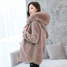 BEAUTY STEELE 2017 New Qutumn Autumn Winter Fox Fur Coat High Quality Long Sleeve Lamb Fur Fashionable Short Hooded Coat S-XXXL