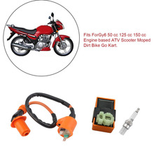 Newest Ignition Coil Fit Gy6 50cc 125cc 150cc Motorcycle Racing Performance CDI+ Ignition Coil + Spark Plug Hot Selling